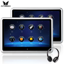 цена на 2x 9 inch 1080P Car Headrest DVD Player Video Monitor With IR Wireless Headphones Game Remote USB SD Touch Screen Silver