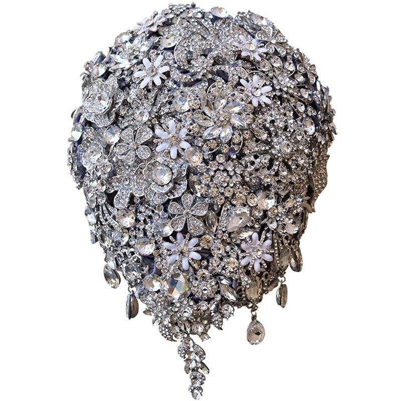 Букет невесты Роза капли Стразы Многослойные капли букет серебряная брошь свадебные аксессуары, букеты ювелирные изделия Bouq