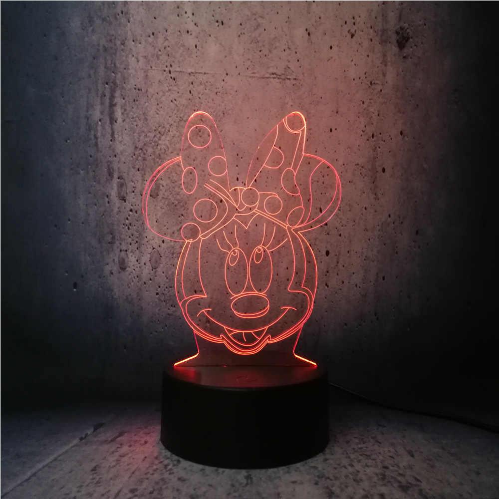 3D Lampe Minnie Maus Kopf LED Nachtlicht USB Weihnachten Schreibtisch  Dekorative Tisch Stimmung Baby kind Spielzeug Geschenke lava kreative  display