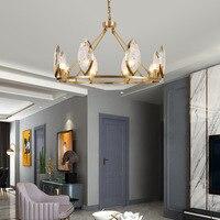 유럽 구리 크리스탈 샹들리에 현대 대기 거실 경량 럭셔리 침실 레스토랑 크리 에이 티브 북유럽 램프