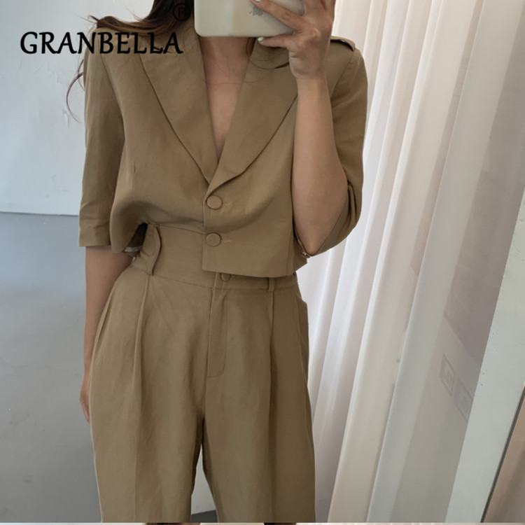 2019 Fashion Solid Color Hot Two Sets Of Small Fragrant Wind Leisure Trouser Three Quarter Elegant Turn Down Collar Buttons