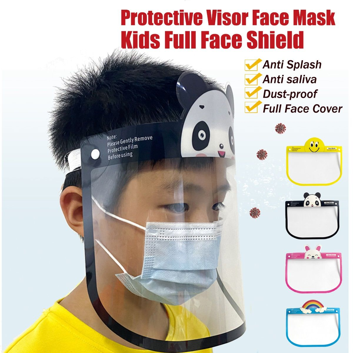 1pcs Transparent Face Shield For Kids Fog-proof Adjustable Dust-proof Protective Rotatable Head-Mounted Full Face Masks