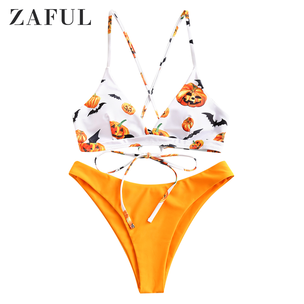 Zaful Halloween Pumpkin Lace Up Cami Bikini Swimsuit