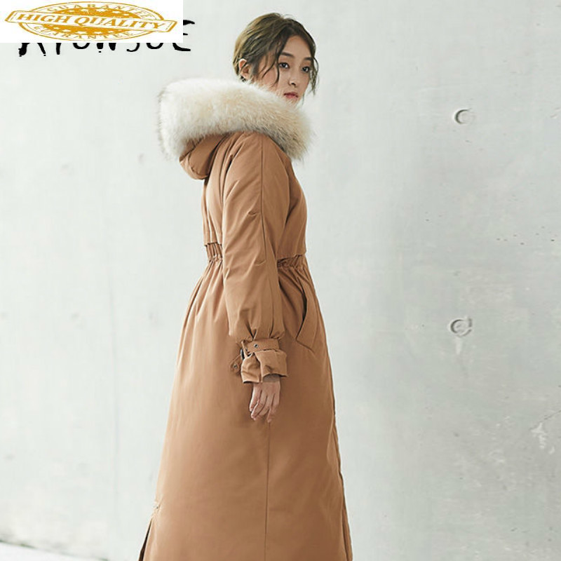 2019 New 90% White Duck Down Jacket Winter Coat Women Raccoon Fur Collar Puffer Jacket Women Long Warm Parka YT6101250 YY1626