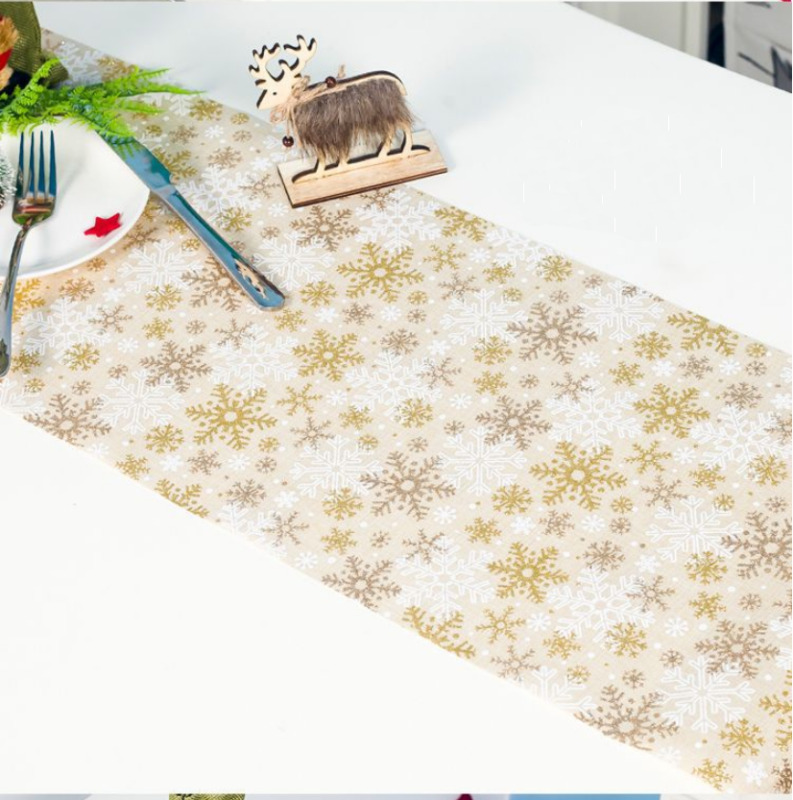 Christmas Tablecloths Dining Table Covers Tapestry Xmas Home Decorations Snowflake Print Table Runner 30x270cm