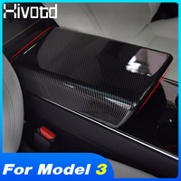Hivotd For Tesla model 3 2019 car styling Central control armrest panel box protective cover trim interior carbon Accessories