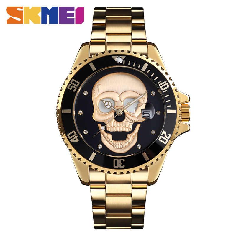 2019 יצירתיות גולגולת דפוס גברים קוורץ שעונים נירוסטה עמיד למים זכר שעוני יד גברים של שעון Relogio Masculino 9195
