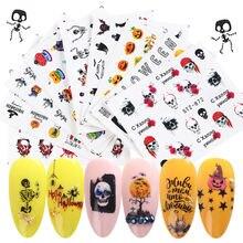 Водная наклейка наклейки на ногти Хэллоуин тыква летучая мышь