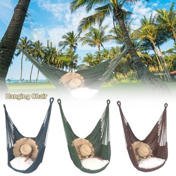 Hammock Swing Chair Nordic Style Cotton Hanging Rope Mesh  Swing Chair Outdoor Garden Hammock Chair Swing Chair For Child Adult load bearing 100kg easy to carry outdoors reticular overstriking nylon rope hammock adult children outdoor sport swing