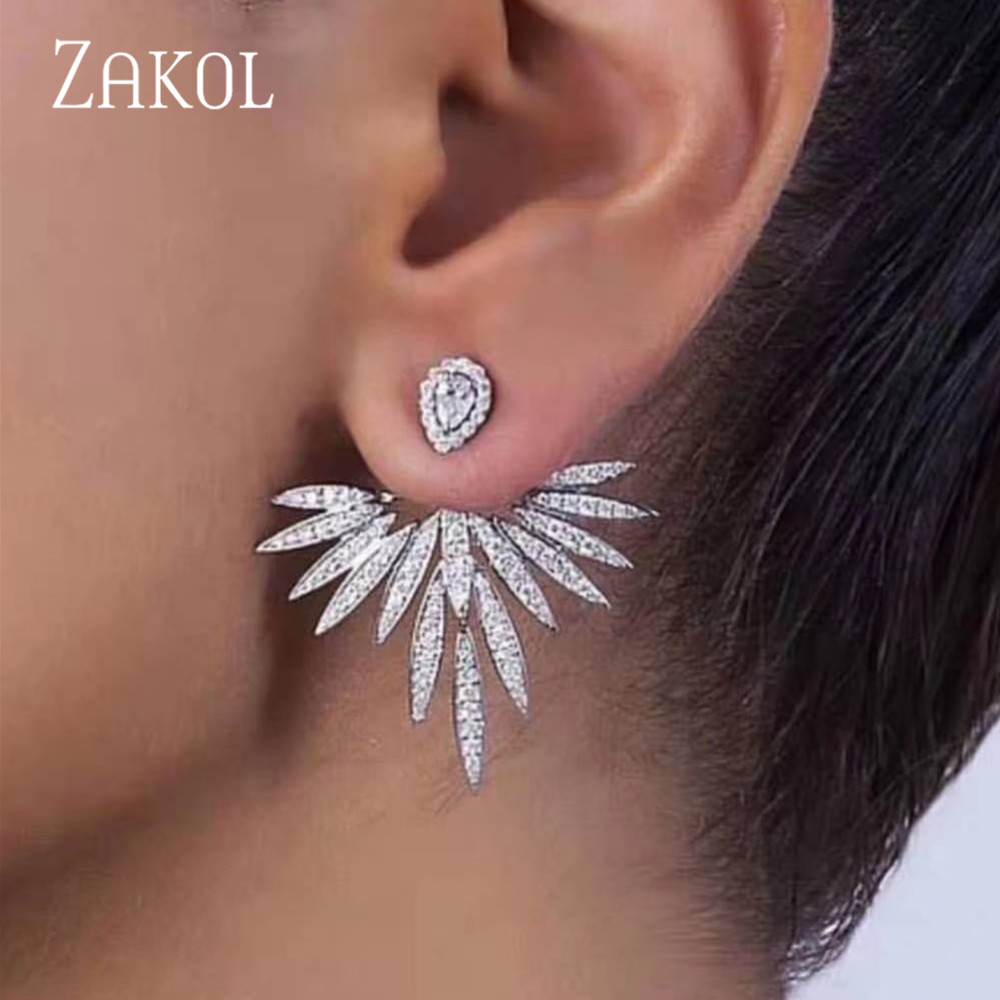 ZAKOL 2020 Elegant Feather Shape White Gold Color High Quality Cubic Zirconia Jewelry Party Stud Earrings for Women FSEP2539