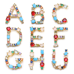 Juya Hand made Rainbow Crystals Opal Gems 26 Alphabet Letters Initial Charms For DIY Name Jewelry Making Supplies