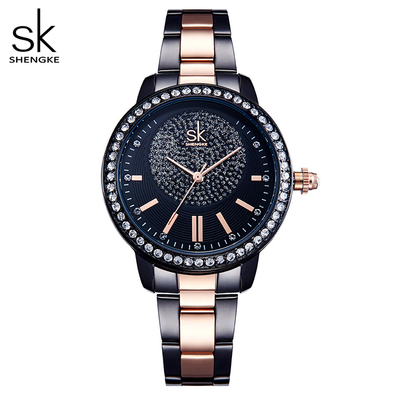 Shengke Rose Gold Watch Women Quartz Watches Ladies Top Brand Crystal Luxury Female Wrist Watch Girl Clock Relogio Feminino 1