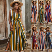 2020 New Women Summer Sleeveless Strip Jumpsuit Print Strappy Holiday Long Playsuits Trouser Fashion Beach Party Jumpsuits(China)