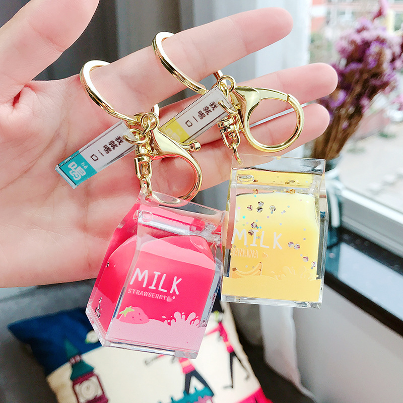 Fashion Dairy Cow Milk Drinks Acrylic Keychain Fruit Milk Moving Liquid Key Rings Decompression Bottle Jewelry Key Chain Gifts