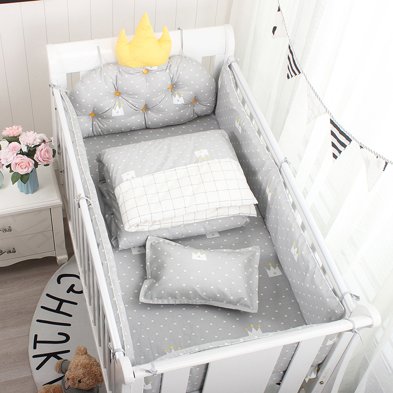 5pcs Nordic Crown Cushion Cot Bumpers Baby Bed Bedding Kit Baby Bedding Cotton Removable Washable Baby Crib Side Protector Set