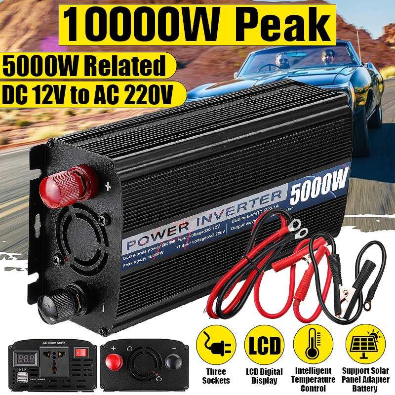 10000W Peaks Car Inverter 12V 220V 5000W LED Display 2 USB Modified Sine Waves Powers Inverter Voltage Convertor Transformer