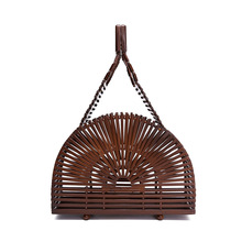 Women bamboo bags summer for travel handmade woven beach luxury handbags women designer with top-handle
