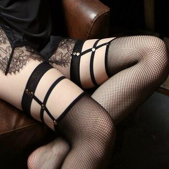 Medias sexis negras de mujer, medias de rejilla transparentes, lindas medias japonesas hasta el muslo, medias de red ultrafinas