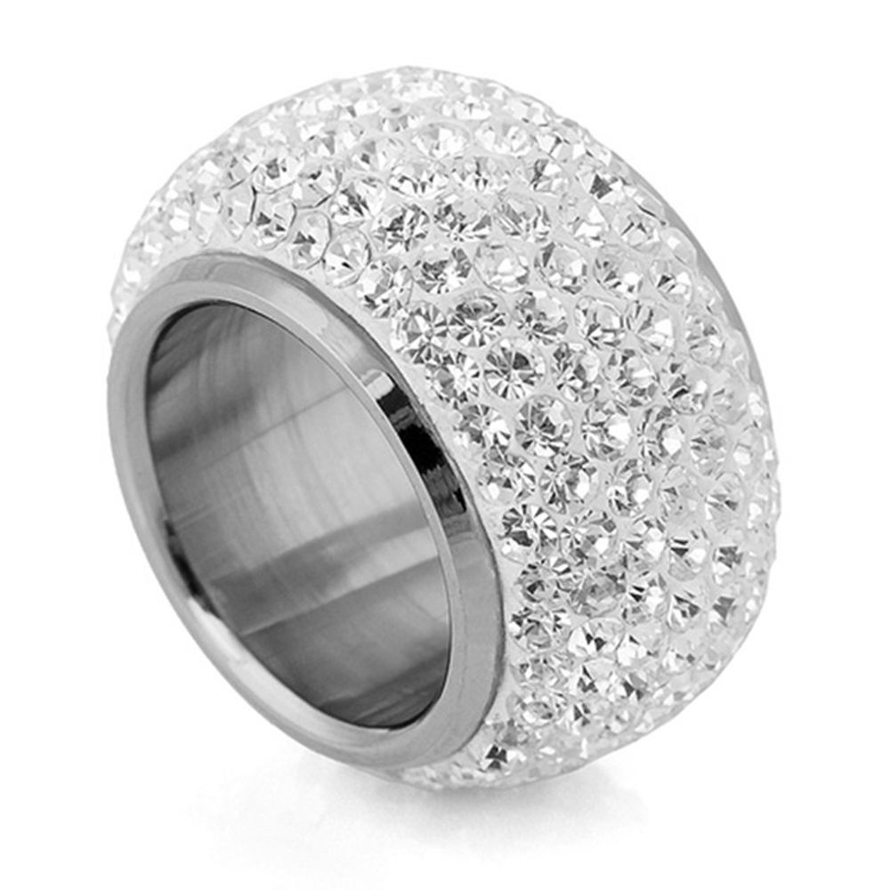 Wholesale shining full rhinestone finger rings for woman luxurious paragraph Crystal Jewelry Ring gold-color 4