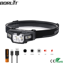 BORUiT B30 2 * XP G2 + 2*3030 красный светодиодный налобный мини фонарь ИК движения Сенсор 5 режим фар Перезаряжаемые Водонепроницаемый налобный фонарь для охоты