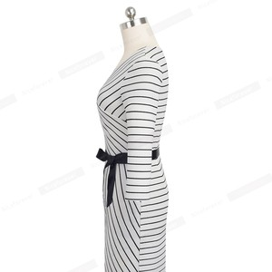 Image 3 - Nice forever Elegant V neck Stripes Office vestidos Business Party Bodycon Autumn Women Dress B548