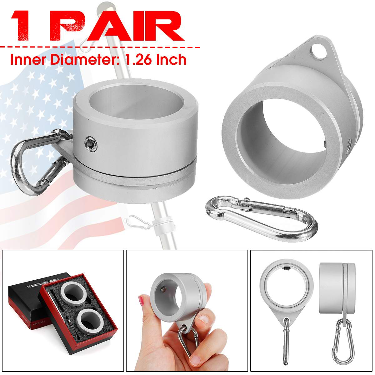 1Pair Aluminum Alloy Flag Pole Rings 360 Degree Rotating Flagpole Flag Mounting Rings Kit With Carabiner For 1.26 Inch Flagpole