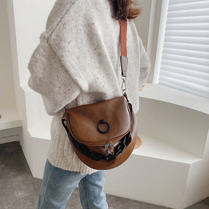 Image 5 - מוצק צבע עור גבירותיי תיק 2019 חדש אופנה כתף תיק רחב רצועת כתף שליח תיק רטרו רך עור קניות תיק