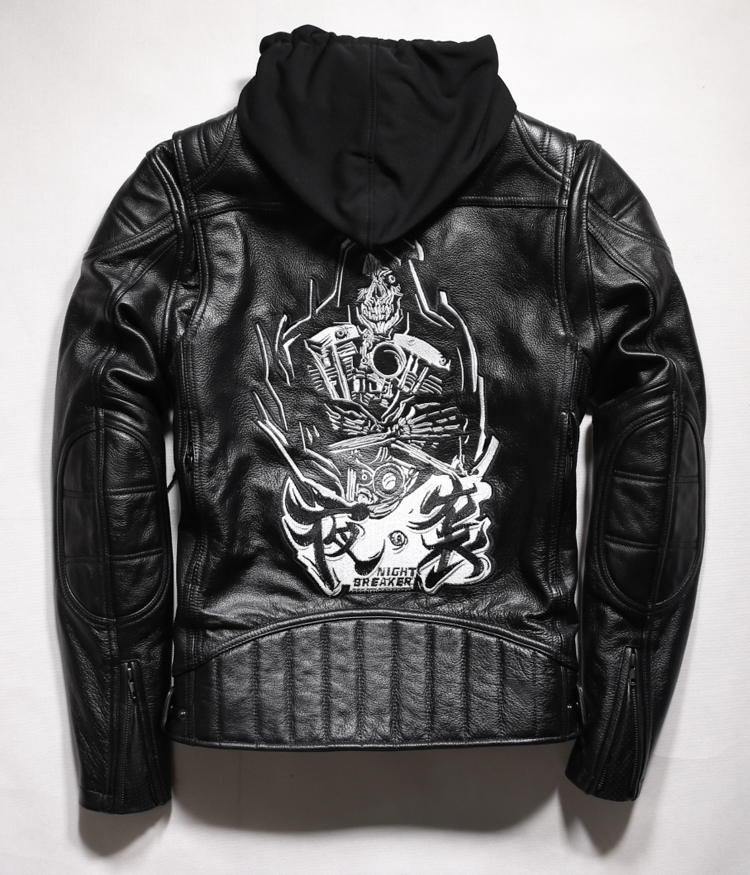 Free Shipping. Cool Brand Man Style Skull Leather Eur Plus Size Jackets Men's Genuine Leather Motorcycle Biker Jacket.