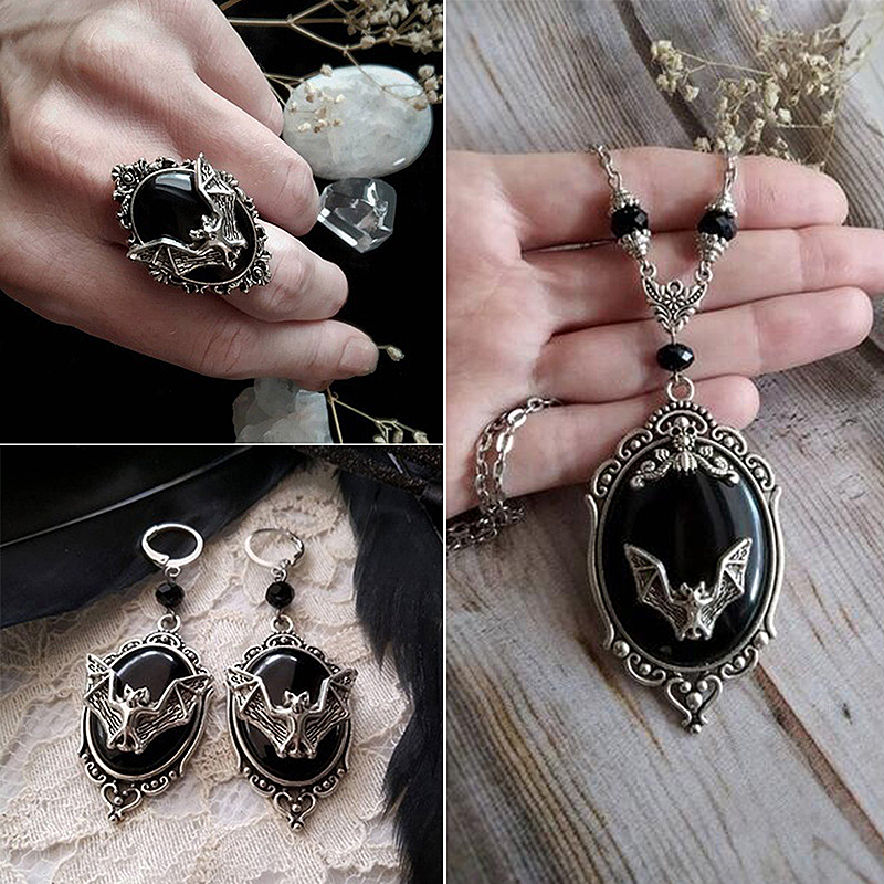 Gothic Vampire Bat Ring Vintage Black Stone Witch Adjustable Rings Earrings Pendant Victorian Pagan Jewelry Set Halloween Z4P543