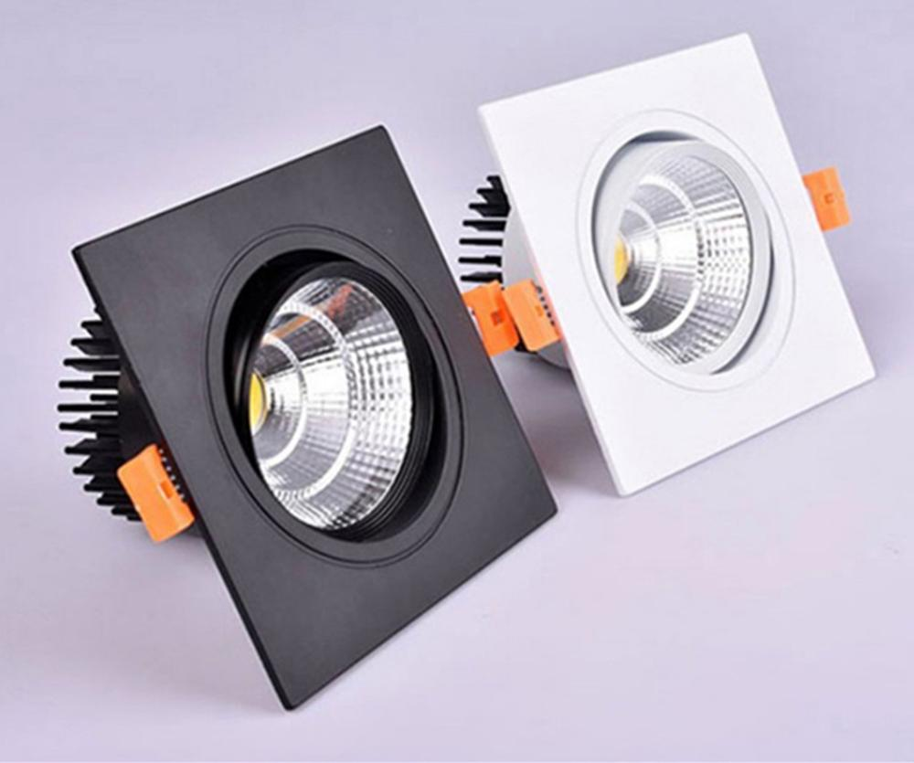 Diodo emissor de luz spotlight lâmpada do teto recessed led cob downlight regulável 220v 110v único duplo quadrado conduziu a luz do ponto