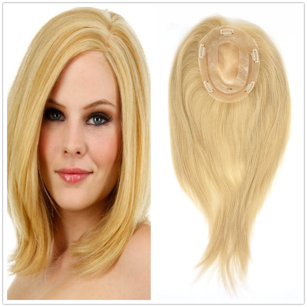 Hstonir Women Toupee 613 Closure Wig Topper Blond Mono Wig Indian Remy Hair TP14