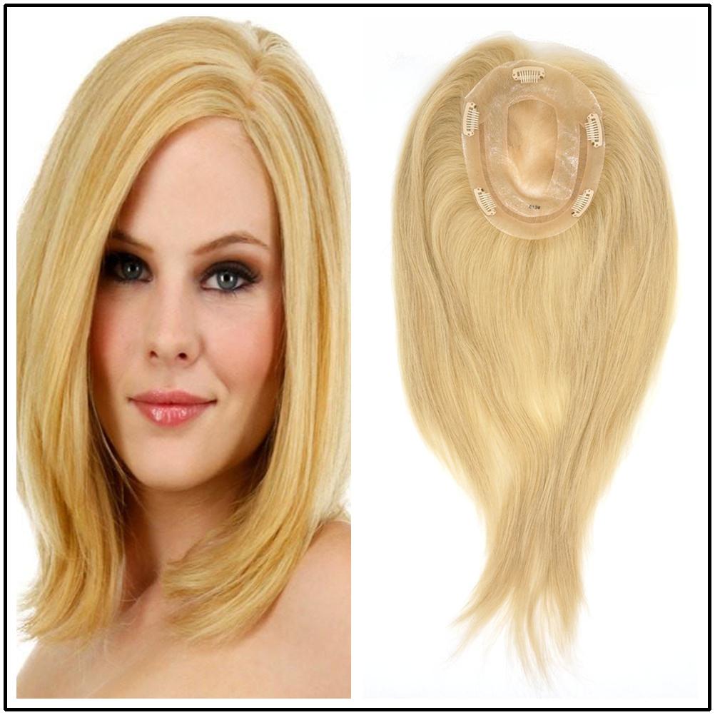Hstonir Women Toupee 613 Closure Wig Topper Blond Mono Wig Indian Remy Hair TP14