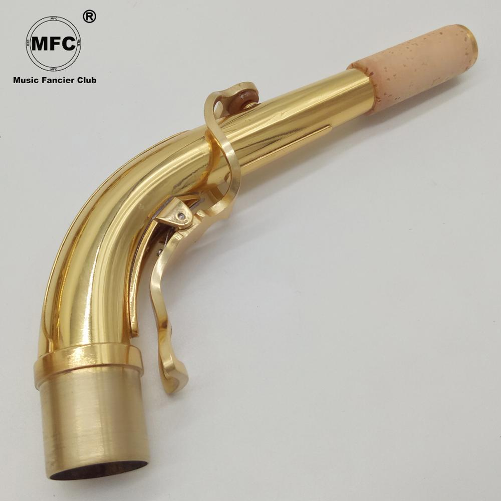 Free Shipping Music Fancier Club High Quality Professional Alto Saxophone Neck Brass Alto Sax Neck Gold Lacquer