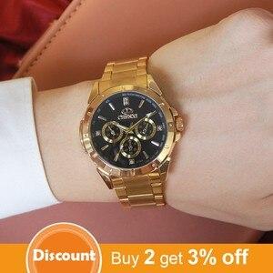 Image 2 - Chenxi lujo oro Relojes de hombre único negocio vestido reloj para hombre mujer amante reloj de oro impermeable mujer hombre 019a