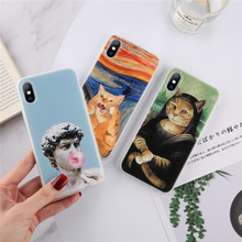 Moskado Art Phone Case For iphone 5 5S SE 6 6S 7 8 Plus XS Max XR X Soft Cartoon Cat Girls Statue Oil Painting Back Cover