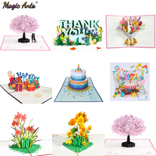 3D Pop-Up Cards Flowers Birthday Card Anniversary Gifts Postcard Maple Cherry Tree Wedding Invitations Greeting Cards