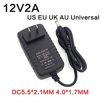 цена на Ac100-240v 12v 2a 24w Dc Ac Adapters Dc12v Us Eu Uk Au Plug Universal Power Adapter Supply for Cctv  LED light strips