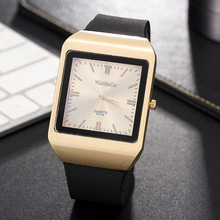 Womage Men Watches Fashion Rectangle Gold Mens Silicone Band Quartz relogio masculino horloge heren