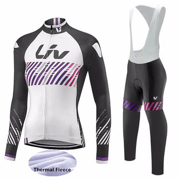 Pro team 2019 liv cyclisme Jersey ensemble 19D Gel pad vtt vélo vêtements femme hiver thermique polaire vélo extérieur vêtements