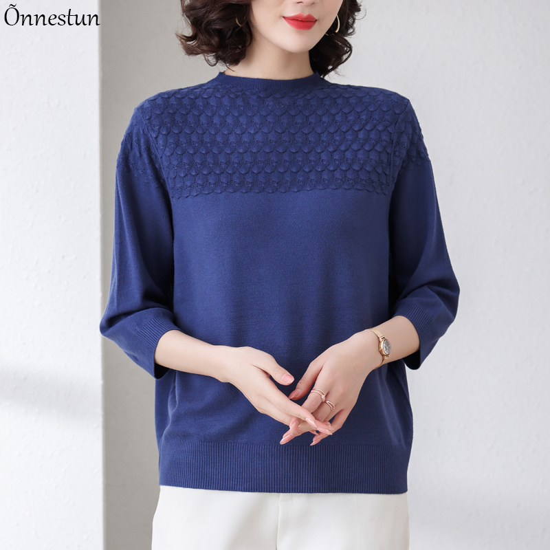 Solid Women Sweater Pullovers 2021 Summer Clothes For Women Crop Top Casual Thin Knitted Top Female Loose Half Sleeve T-Shirts