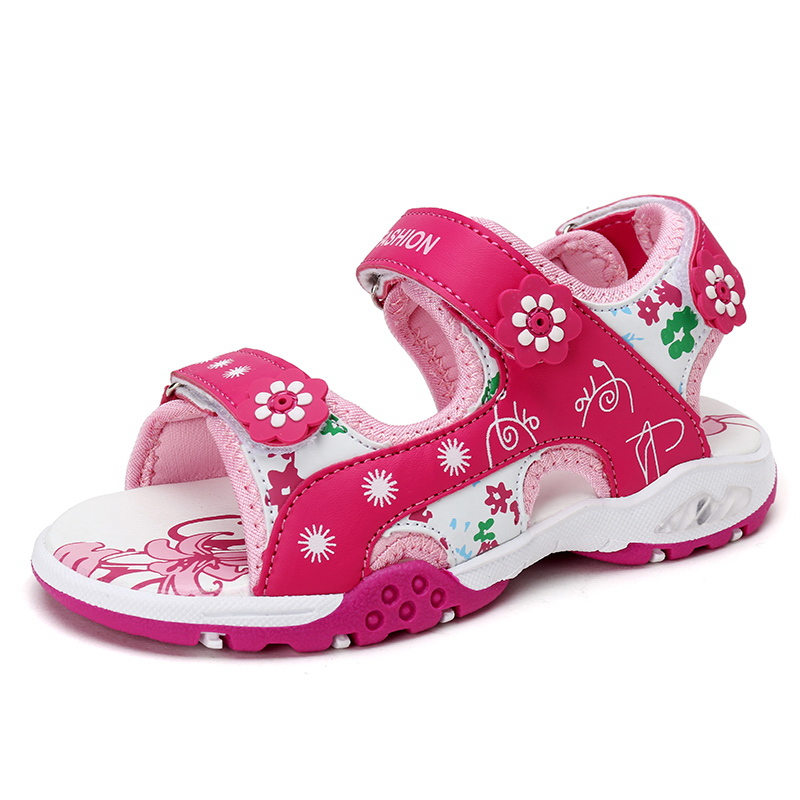 Kids Sandals For Girls,Summer Girl Shoes 4-15Y Children Sandalias Pink And Red High Quality Child Shoes Size 25-37