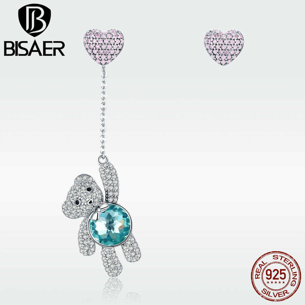 Love ตุ๊กตาหมีต่างหู 925 เงินสเตอร์ลิงสีชมพู CZ หัวใจบอลลูนสีฟ้าหมีคริสตัล Drop ต่างหูสำหรับสาวของขวัญวันเกิด GXE388