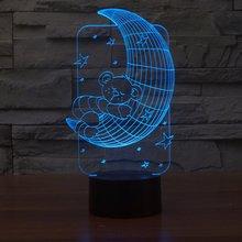 Медведь на Луне 3D огни красочные светодиодные постепенные изменения Иллюзия настольная лампа сенсорный пульт дистанционного управления Креативные 3D светодиодные маленькие настольные лампы