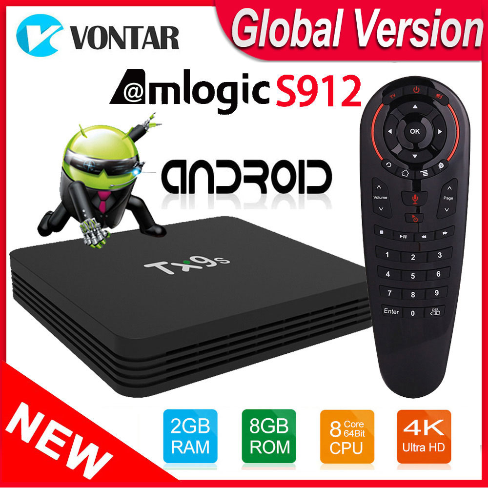 Android TV Box TX9S TVbox Amlogic S912 Octa Core 2GB 8GB 4K 60fps Smart Set Top Box 2 4GHz Wifi Support Youtube Google Playstore