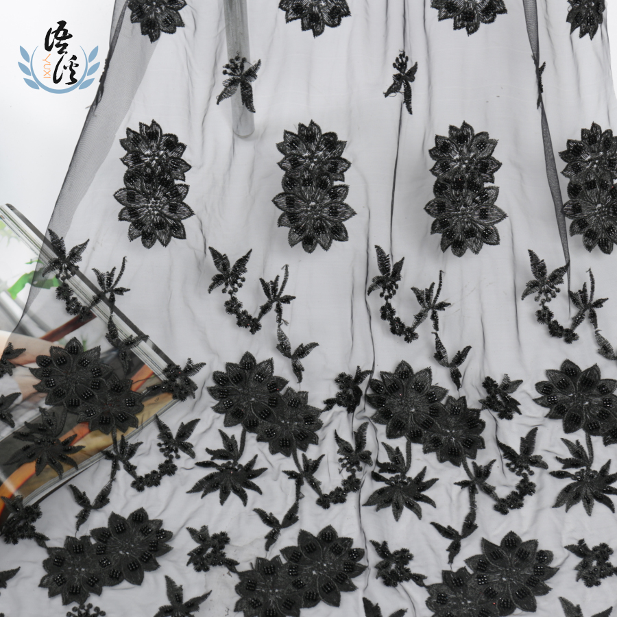 Rice Bead Embroider Embroiders Cloth Heavy Craft Rice Bead Stereo Net Cloth Embroider Formal Dress Fabrics Spot Sells Directly