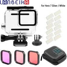 LANBEIKA 45M Onderwater Duiken Waterdichte Behuizing Case + 3 Kleur Dive Lens Filter Anti Fog Insert voor GoPro Hero 7 wit Zilver