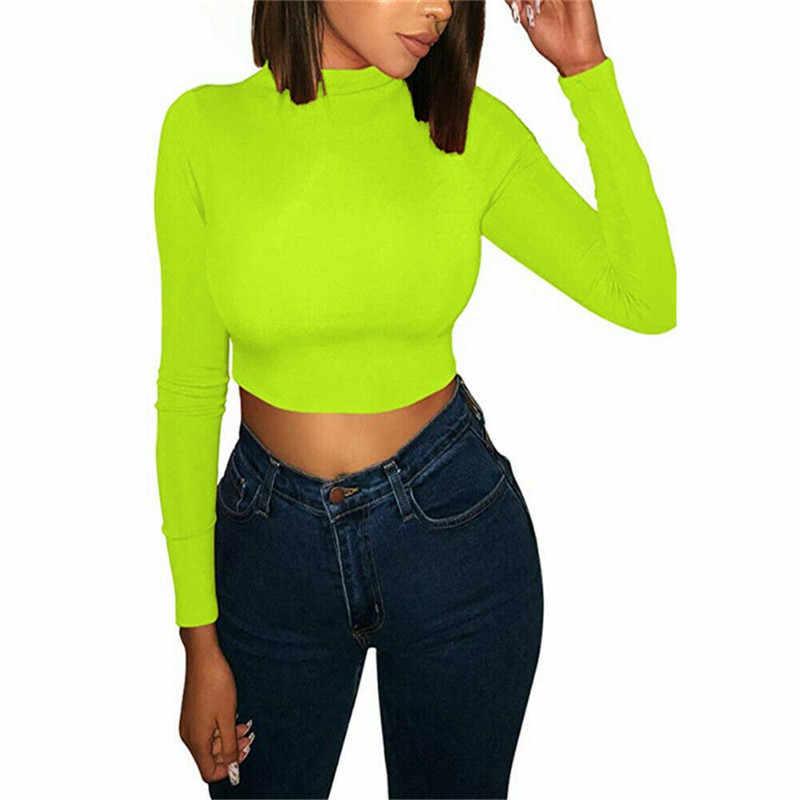 2020 ฤดูใบไม้ผลิฤดูใบไม้ร่วง Neon สี Slim T เสื้อผู้หญิงแขนยาวคอเต่าเสื้อยืดแฟชั่น Streetwear เสื้อ TEE Femme