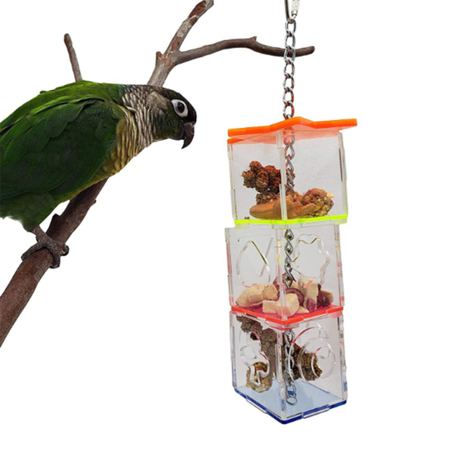 3 Layer Parrot Hanging Chewing Feeding Toy Bird Feeding Transparent Food Feeder Holder Hanging Forage Box Cage Toy 1