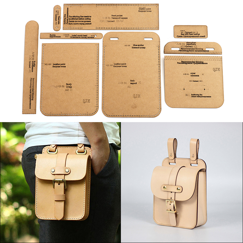 DIY Leather Tools Men's Belt Bag Kraft Paper Template Handmade Leather Craft Bag Template 13*20*6cm Sewing Craft Tools