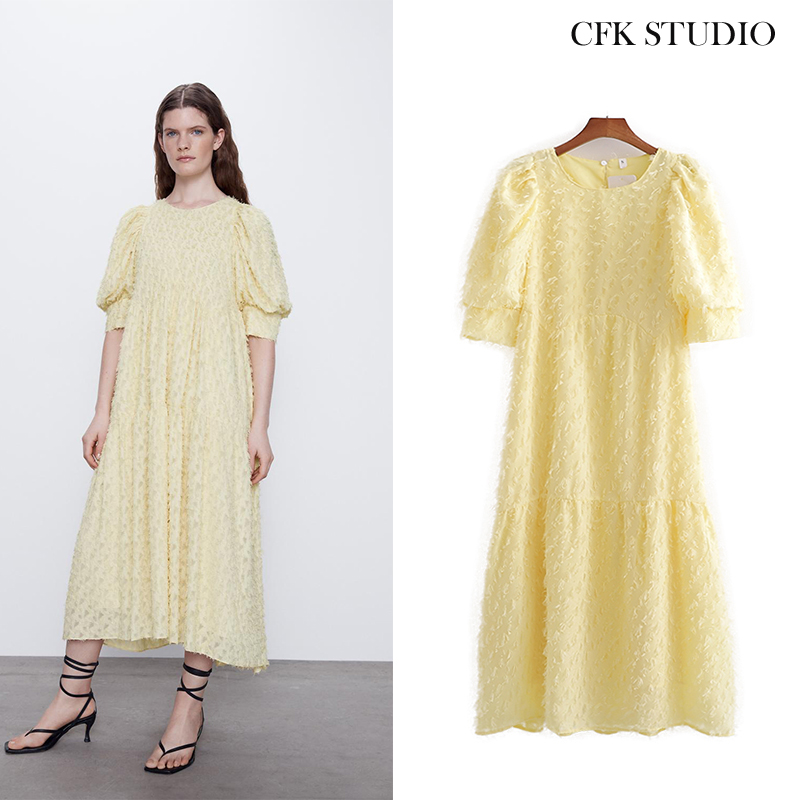 Za Women Mididress With Half Sleeve Embroidery Shirtdress Yellow Loose Sexy Party Dress